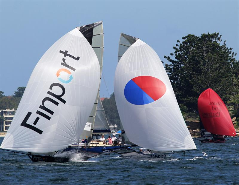 Fleet spinnaker action off Shark Island in the 18ft Skiff Australian Championship - photo © Frank Quealey