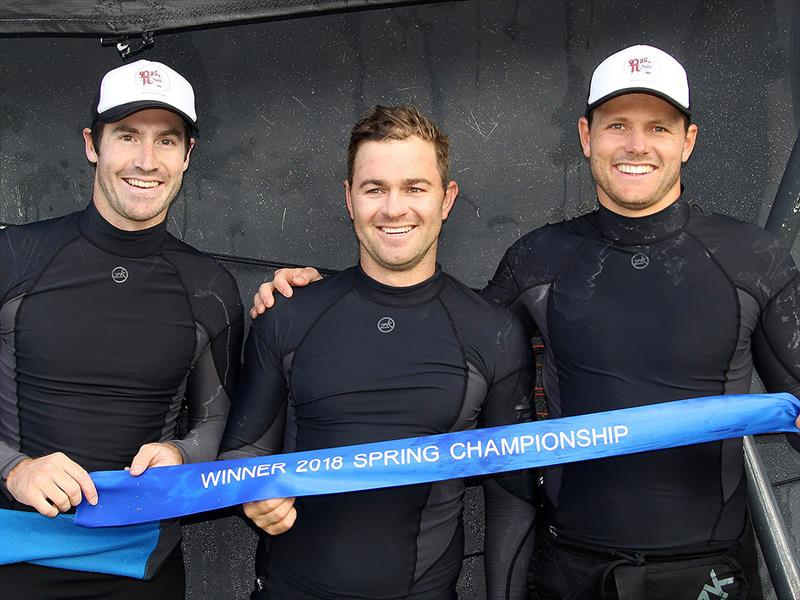 The winning Rag and Famish Hotel crew, from left - Bryce Edwards, Rory Cox, Jacob Broome - photo © Frank Quealey
