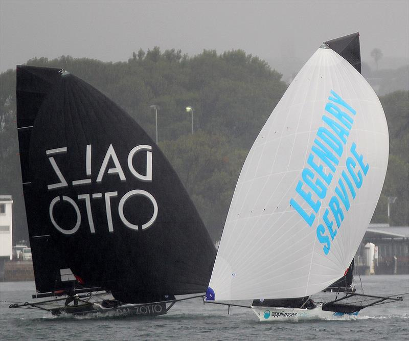 Appliances and Dal Zotto in the gloomy conditions of race 1 in the 18ft Skiff 'Supercup' 2018 - photo © Frank Quealey