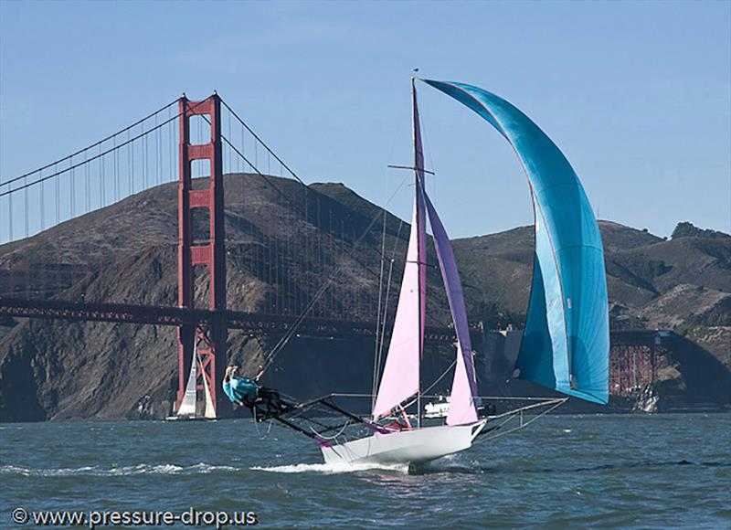 Picture perfect. Sailboat at speed under the San Francisco Bridge - photo © Erik Simonson / www.pressure-drop.us