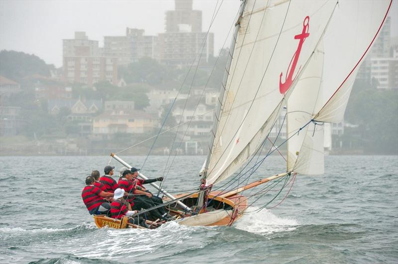 Race 2 last run, Yendys takes the gun - 2019 Historical 18 Footer Australian Championship photo copyright Bruce Kerridge taken at Sydney Flying Squadron and featuring the 18ft Skiff class