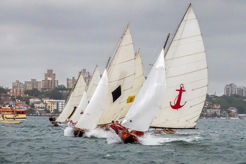 Race 1 start line action - 2019 Historical 18 Footer Australian Championship photo copyright Bruce Kerridge taken at Sydney Flying Squadron and featuring the 18ft Skiff class