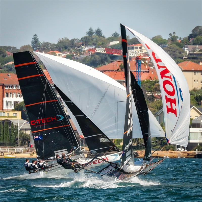 C-Tech and Honda Marine battle for the lead in Race 3 - JJ Giltinan Championship - Sydney Harbour - March 2019 photo copyright Michael Chittenden taken at Australian 18 Footers League and featuring the 18ft Skiff class