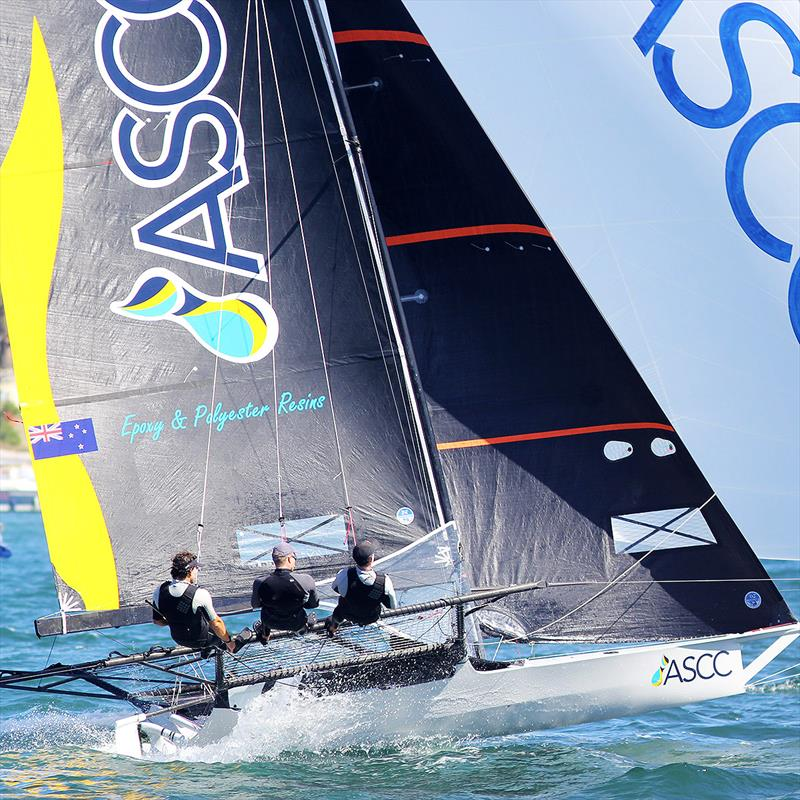 New Zealand champion ASCC pushed Honda Marine all the way in Race 9 of the 2019 JJ Giltinan Championship photo copyright Frank Quealey taken at Australian 18 Footers League and featuring the 18ft Skiff class