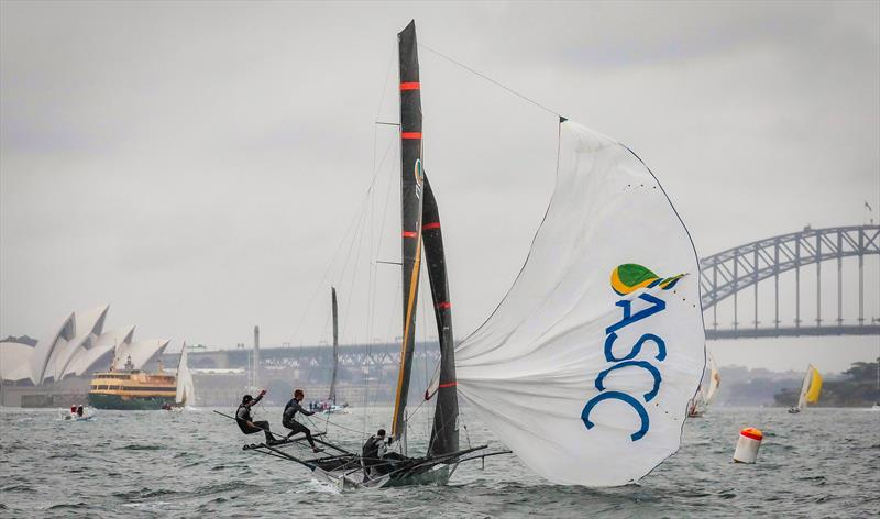 ASCC did much of the leading in 2018 and 2019 JJ Giltinans, including having to get out the course map when leading in their first race in 2018 - 18ft skiffs, Sydney - photo © Michael Chittenden