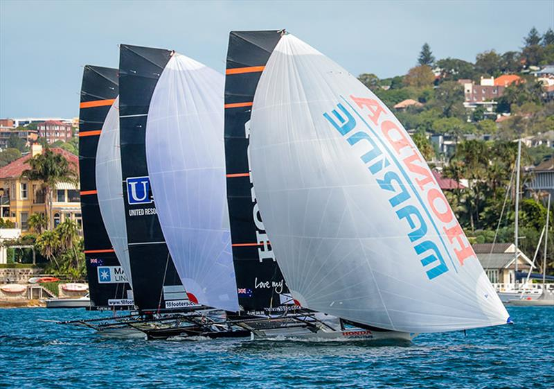 Honda Marine works her way through to leeward - 18ft skiffs - JJ Giltinan Championship - March 17, 2020 - Day 3 - Sydney Harbour - photo © Michael Chittenden