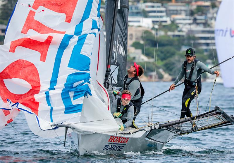 Dave McDiarmid, Matt Steven and Brad Collins - Honda Marine - JJ Giltinan 18ft Championships - March 2020 - Sydney Harbour - photo © Michael Chittenden
