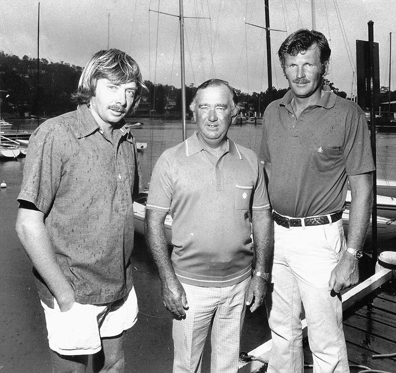'Left to right, John Stanley, Frank Tolhurst, Norm Hyett, the first Austraalian team to win the world Etchell Championship, 1977 - photo © Frank Quealey