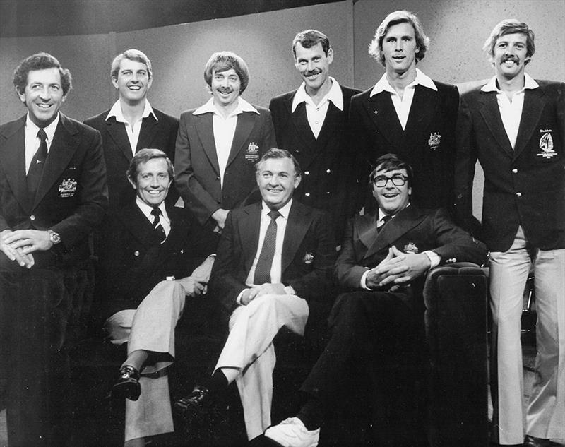 Alan Bond This is your Life back row Lto R Jim Hardy Phil Smidmore Steamer Peter Costello Joe Cooper Rob Brown sitting Warren Jones Alan Ben Bob - photo © Frank Quealey