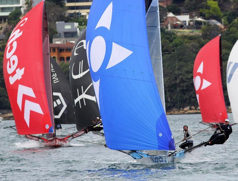 Large group chase the leaders to the wing mark - 18ft Skiff Spring Championship Race 2 - photo © Frank Quealey