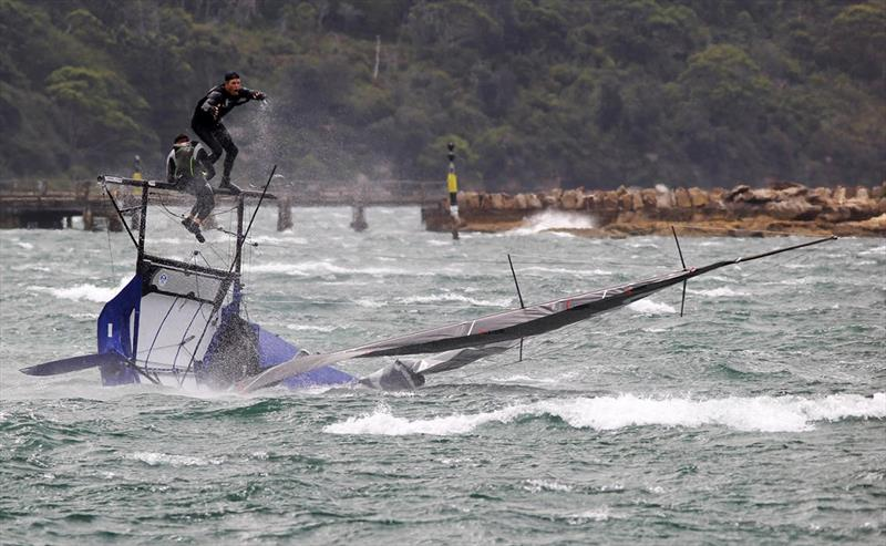 Abandon ship - 18ft Skiff NSW Championship Race 2 - photo © Frank Quealey