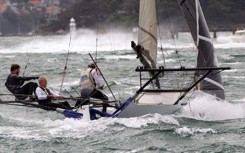 Hard work shows on the face of the Yandoo skipper - 18ft Skiff NSW Championship Race 2 - photo © Frank Quealey