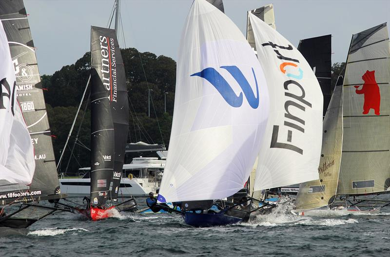 18ft Skiff Supercup: Charge down the first spinnaker run in Race 2 - photo © Frank Quealey