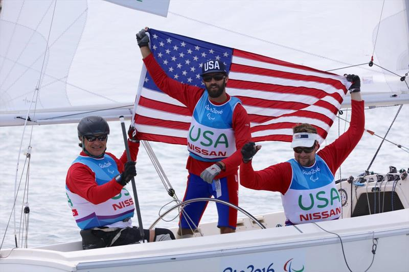 Silver for the USA Sonar team at the Rio 2016 Paralympic Sailing Competition - photo © Richard Langdon / Ocean Images