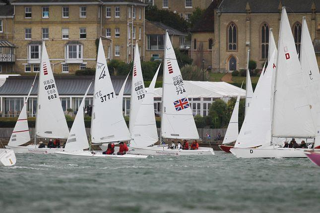 Sonars passing the Royal Yacht Squadron on day 5 of Cowes Week 2019 photo copyright Paul Wyeth / CWL taken at Cowes Combined Clubs and featuring the Sonar class