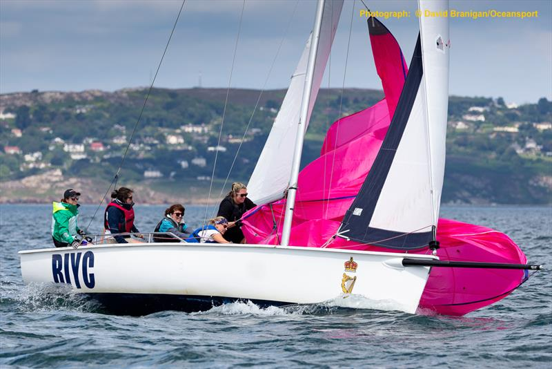 Sabrina Mahoney's crew haul in the spinnaker on the opening day of 500  boat Volvo Dun Laoghaire Regatta photo copyright David Branigan / www.oceansport.ie taken at Royal Irish Yacht Club and featuring the Sportsboats class