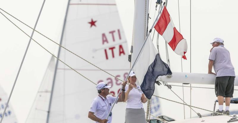 The Race Committee hoists the AP over Alpha flags - Star World Championship 2019. photo copyright YCCS / Studio Borlenghi taken at Yacht Club Costa Smeralda and featuring the Star class
