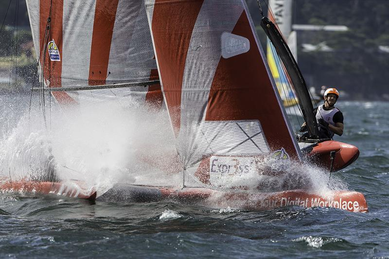 With pace comes splash... photo copyright Andrea Francolini taken at Woollahra Sailing Club and featuring the Superfoiler class