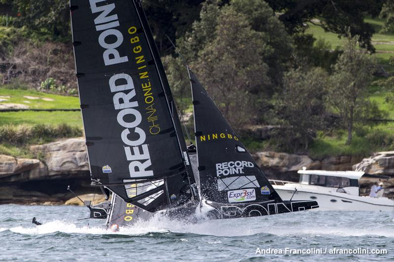 This is Record Point mostly upright... photo copyright Andrea Francolini taken at Woollahra Sailing Club and featuring the Superfoiler class