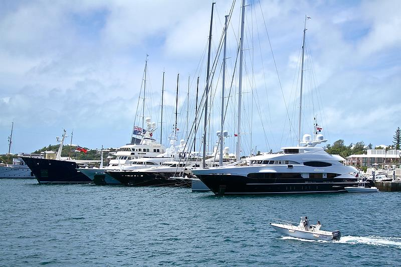 Part of the 70 strong Superyacht fleet that visited Bermuda for the 2017 America's Cup - photo © Richard Gladwell