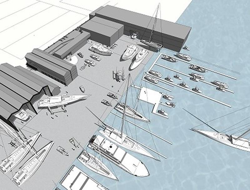 Concept sketch of the new superyacht facility planned for Orams Marine and Site 18 - photo © Orams Marine
