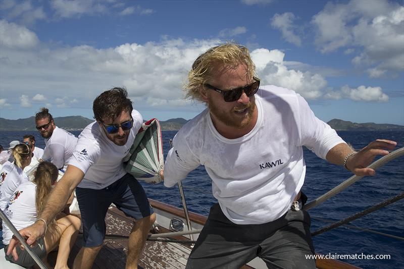 The 112ft (34m) Sparkman & Stephens sloop Kawil was just three seconds shy of the start line and went on to win Race One - 2019 Superyacht Challenge Antigua  - photo © Claire Matches / www.clairematches.com