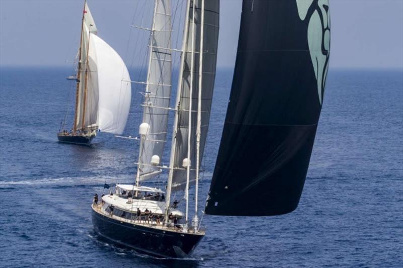 The Perini Navi Silencio, winner in the Cruising division followed by the schooner Mariette. - Loro Piana Superyacht Regatta - photo © Carlo Borlenghi