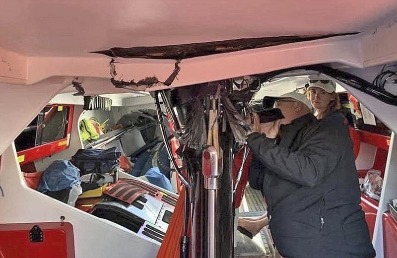 Damage to Wild Oats XI as bottom section of mast fails, and loads up the deck. - photo © Voile Dock Talk