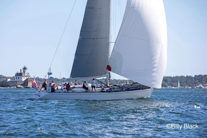 Todd Stuart's Swan 56 White Rhino passes Rose Island in Newport, RI during the Sail for Hope Race. - photo © Billy Black