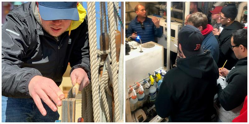 (left) Nathan Plummer working on basic joinery skills; (right) Captain Jonathan Kabak talking to students about marine systems in Oliver Hazard Perry's engine room (Photo courtesy of OHPRI;). photo copyright Lisa Goodwin taken at  and featuring the Tall Ships class