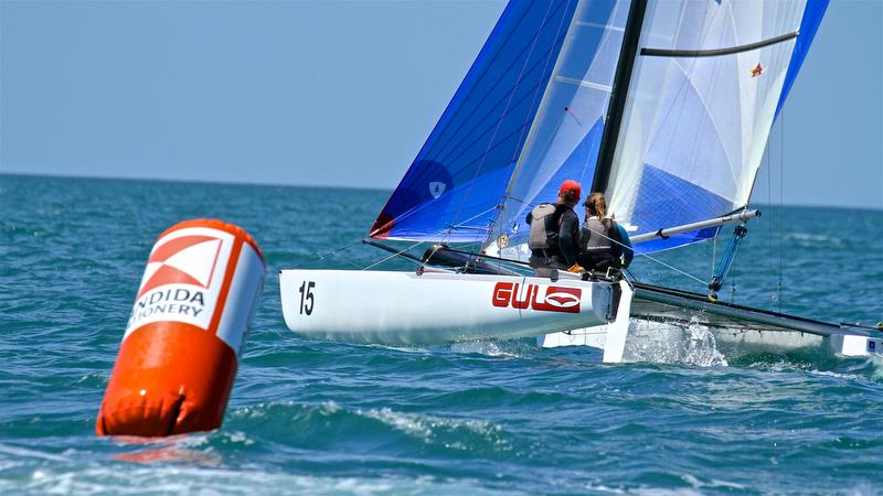 Pavlis and Pavlisova (CZE) lead around Mark 1 - Race 6 - Int Tornado Worlds - Day 3, presented by Candida, January 7, - photo © Richard Gladwell