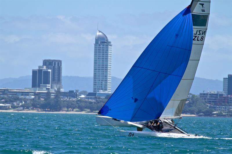 Rex and Brett Sellers - heading for the finish - with Takapuna in the backdrop - Race 6 - Int Tornado Worlds - Day 3, presented by Candida, January 7, - photo © Richard Gladwell