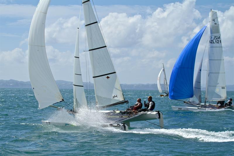 Dave Lineman and Karl Taylor (NZL) - Race 7 - Int Tornado Worlds - Day 4, presented by Candida, January 9, 2019 photo copyright Richard Gladwell taken at Takapuna Boating Club and featuring the Tornado class