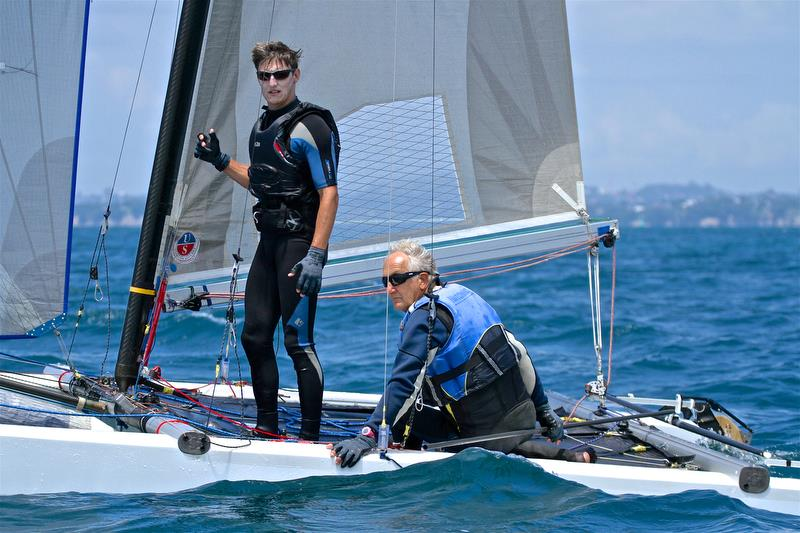 Brett and Rex Sellers (NZL) make some first leg choices ahead of Race 9 - Int Tornado Worlds - Day 5, presented by Candida, January 10, 2019 photo copyright Richard Gladwell taken at Takapuna Boating Club and featuring the Tornado class