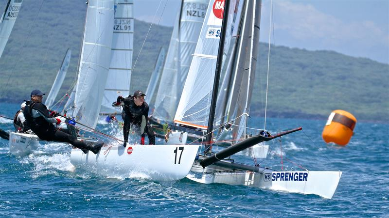 Top mark queue - Race 9 - Int Tornado Worlds - Day 5, presented by Candida, January 10, 2019 - photo © Richard Gladwell