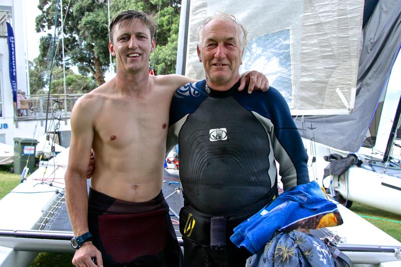 Brett and Rex Sellers (NZL) ashore after  Race 10 - Int Tornado Worlds - Day 5, presented by Candida, January 10, 2019 photo copyright Richard Gladwell taken at Takapuna Boating Club and featuring the Tornado class
