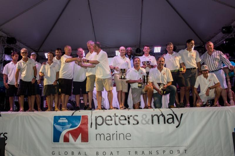 TP52 Zingara (Conviction) collect a haul of silverware at the Peters & May Round Antigua Race Prizegiving photo copyright Ted Martin taken at Antigua Yacht Club and featuring the TP52 class