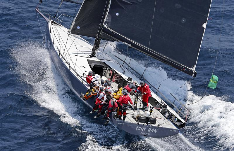 Ichi Ban blasting away down the NSW coast on the first day of the 2019 Sydney Hobart race. photo copyright Crosbie Lorimer taken at Cruising Yacht Club of Australia and featuring the TP52 class