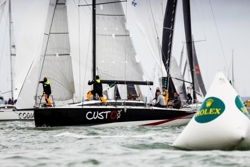 Géry Trentesaux's JPK 11.80 Courrier Recommandé has pulled out a lead in IRC Two in the 2019 Rolex Fastnet Race photo copyright Paul Wyeth / www.pwpictures.com taken at Royal Ocean Racing Club and featuring the Trimaran class