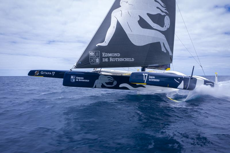Maxi Edmond de Rothschild returns to Lorient for repairs - photo © Yann Riou / polaRYSE / GITANA S.A