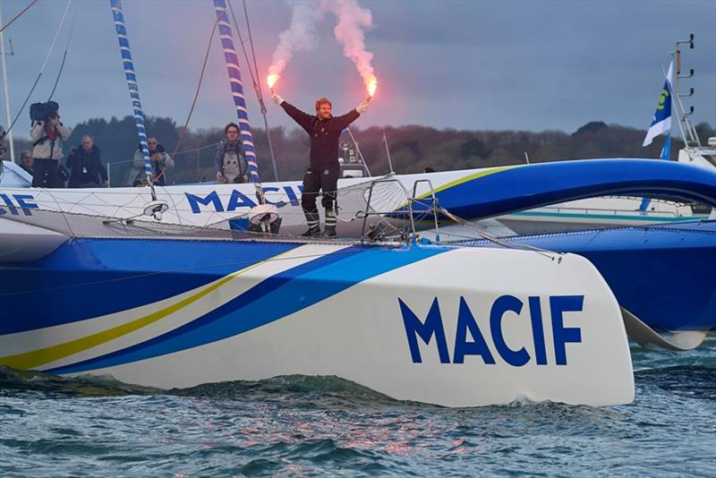 Celebration with flares during solo sailing circumnavigation record for Trimaran MACIF, skipper Francois Gabart - photo © Yvan Zedda / ALeA / Macif