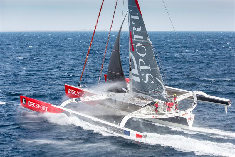 Since setting the Jules Verne Trophy record the maxi trimaran IDEC Sport pictured here in 2016 has been ungraded to a full foiler - photo © Jean-Marie LIOT