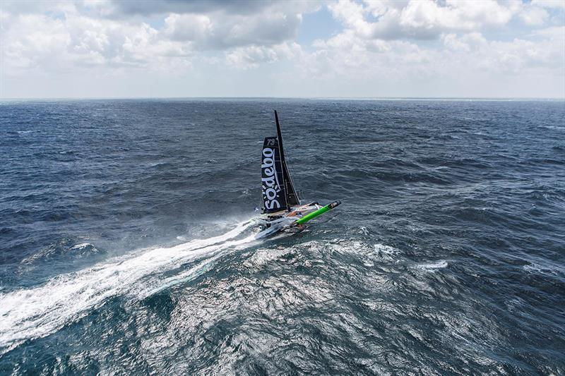 Thomas Coville on Sodebo Ultim' - 2018 Route du Rhum-Destination Guadeloupe photo copyright Jean-Marie Liot taken at  and featuring the Trimaran class