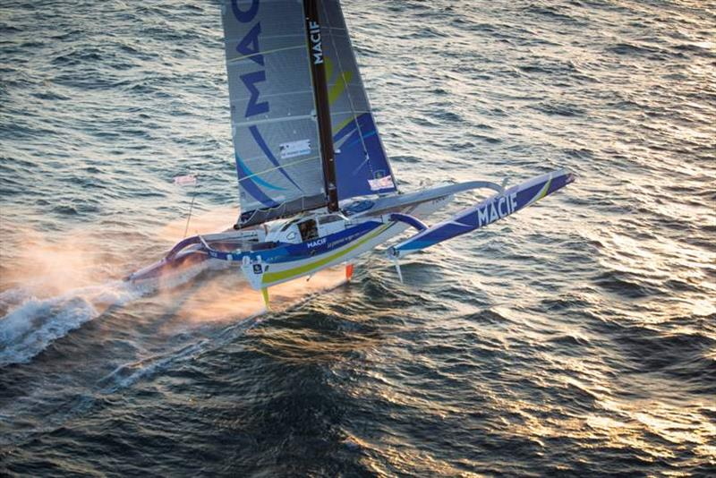 Francois Gabart took line honours in The Transat 2016 and won the ULTIME class crossing the finish line in 8 days, 8 hours, 54 minutes and 39 seconds. photo copyright Lloyd Images taken at  and featuring the Trimaran class