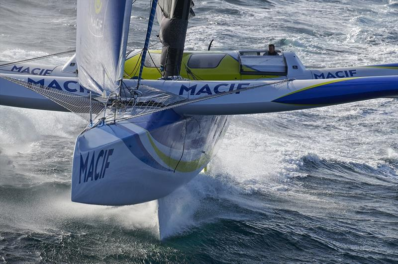 MACIF maxi trimaran skippers Francois Gabart and Gwenole Gahinet are training in strong wind conditions prior to the Brest Atlantiques sailing race on October 18, off Les Glenans, France. - photo © Yvan Zedda / ALeA / Disobey / Macif