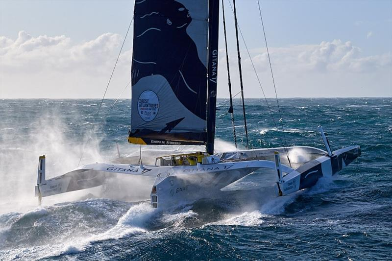 Maxi Edmond de Rothschild in the Brest Atlantiques - photo © Yvan Zedda / Gitana SA
