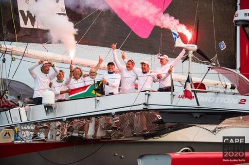 Love Water finish celebration - Cape2Rio2020 Ocean Race, Day 16 - photo © Alec Smith
