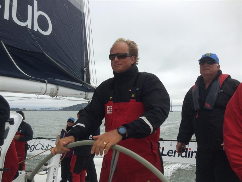 Skipper Ryan Breymaier driving Lending Club 2 on San Francisco Bay in June 2015 - photo © David Schmidt
