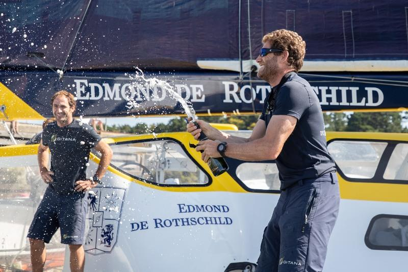 Maxi Edmond de Rothschild crew celebrating the win - Drheam Cup photo copyright E.Stichelbaut / Polaryse / Gitana S.A taken at  and featuring the Trimaran class