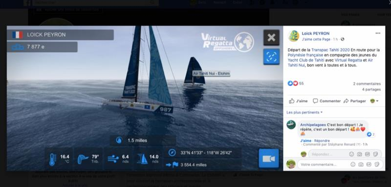 Loick Peyron's entry in the Virtual Transpac Tahiti Race, with 3554 miles to go - photo © Transpacific Yacht Club